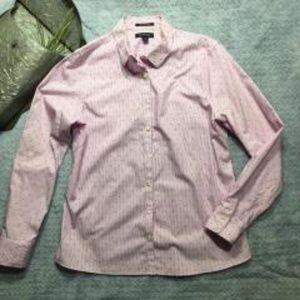 Lands End No Iron Supima Button Front Shirt Purple